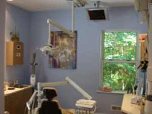 Our dental office at Northwood Dental with a dental chair, artwork, and window showing greenery outside.